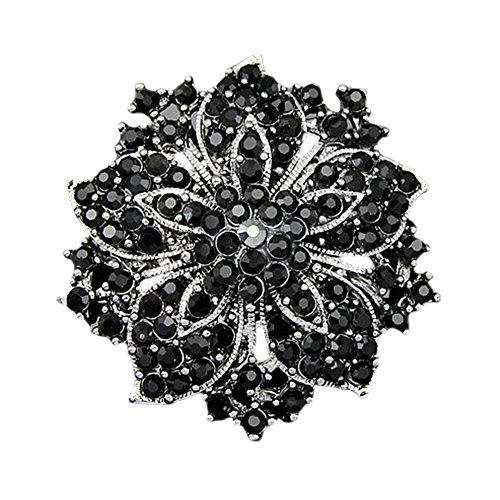 Sanwood Cluster Rhinestones Blossom Flower Crystal Brooches Pin (Black)