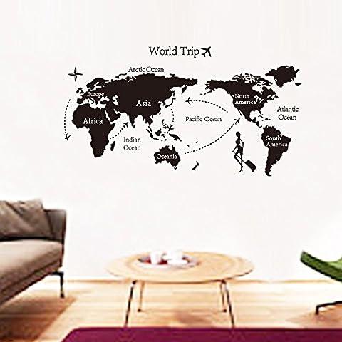 DIY Negro Home Décor Arte de Pared Vinilo Adhesivo de Pared Mapa del Mundo de la Tierra–Fácil de aplicar y extraíble Mural decoración