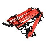 TOOGOO(R) 22.5 Pies Rapido Escalera de agilidad de 13 peldanos planos Escalera de entrenamiento de velocidad de futbol -Rojo