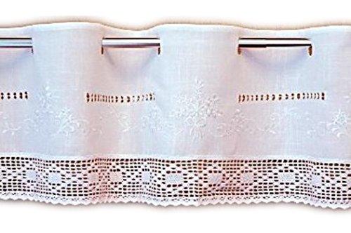 Zwei-ton-bistro (wunderschöne Bistrogardine 30x150 cm Scheibengardine Kurzgardine Gardine Weiß Ton in Ton bestickt tolle HÄKELSPITZE Stangendurchzug BAUERNSTIL Landhausstil SHABBY (30 cm hoch x150 cm breit))