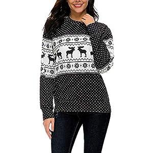 HWTOP Sweatshirts Pullover Weihnachten Druck Damen Oberteil Hemd T-Shirt Locker Sport Freizeit Premium Bauchfrei Stickerei Kleidung Tops Bluse Shirt Langarmshirt Sweater Frauen Pulli Tops