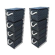 2 x 4 Drawer Storage Cabinet Unit for Bedroom/Bathroom/Home/Office (Black)