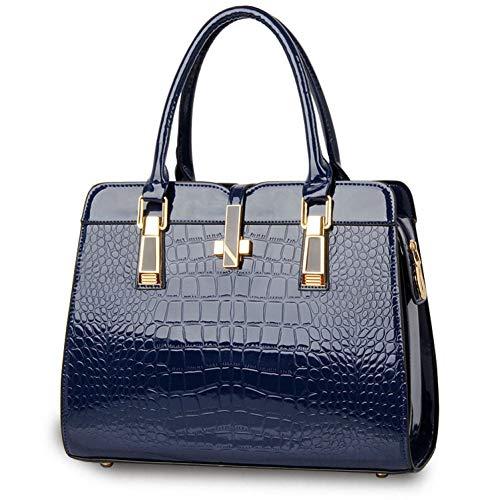 BOOREO Patent Damen Handtasche Big Damen Umhängetaschen Cross Lock Design Lady Tote Handtaschen - Patent Shopper Tote