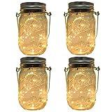 Huatuo 4 Packungen von Fairy Mason Glas LED String Licht - Gartenfest Hinterhof Terrasse Hochzeit Party Dekoration LED-Leuchten - Batteriebetrieben (nicht im Lieferumfang enthalten)