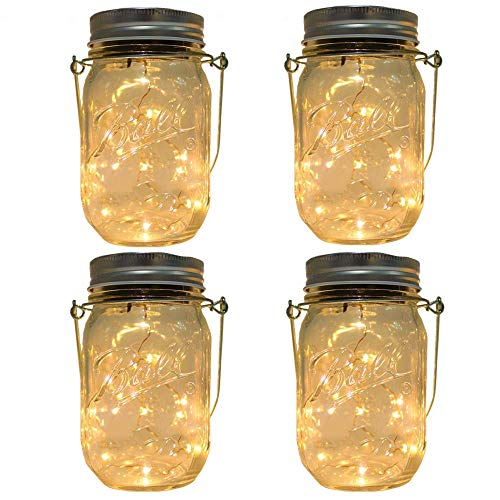 HopeU5 4 Paket Einmachglas LED-Leuchten für Gartendekoration und Heimtextilien Warmweiß...
