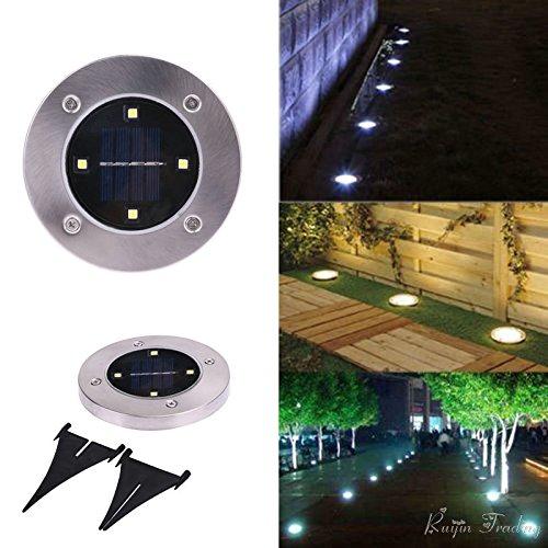 Yocitoy 4 LED Solar Powered Bodenleuchten Außenleuchte Wasserdichte LED Solar Path Lichter Garten Landschaft Spike Beleuchtung für Yard Driveway Rasen Pathway 1PC & White (Garten Stick Light)