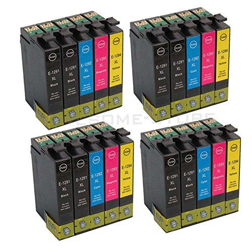 Preisvergleich Produktbild Colorstar 20Pack Druckerpatrone magenta kompatibel für Epson T1291 T1292 T1293 T1294 für Epson Stylus Office BX 305 F SX 230 235 W 525 WD WorkForce 630 (Schwarz,Cyan, Magenta,Gelb)
