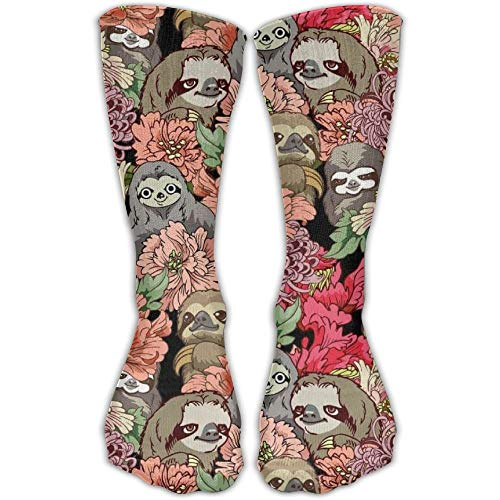Nifdhkw Men Sloth Floral Art Pattern High Sock Shoe Size 6-10