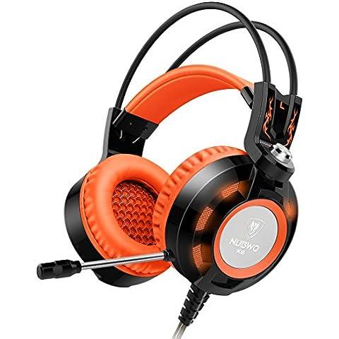 Cuffie, Nubwo K6-Cuffie da Gioco con Microfono Incorporato per Gamer PC Portatile, USB 2,0, Auricolari (Mini Cellulare Schiuma)