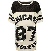 SCO New Womens Ladies Chicago 87 Wolves Baggy Oversize Baseball Jersey T Shirt Dress Long Top