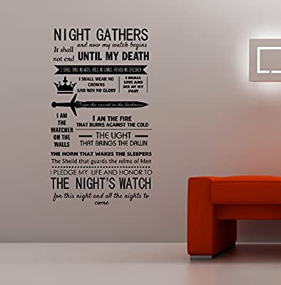 Game of Thrones - Knights Watch Oath Vinyl Decal Wall Art Sticker