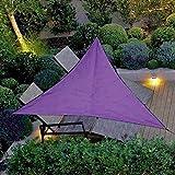 Toile Solaire Voile d'ombrage,Voile d'ombrage Triangle Résistant Anti UV Ombrager pour Jardin Terrasse Protection des Rayons UV Tissu Imperméable pour Balcon Camping (4 * 4 * 4M,Violet)