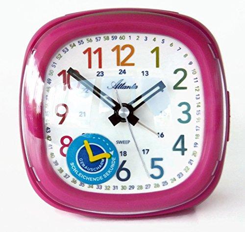 Atlanta Kinderwecker Rosa Pink Mädchen Lernuhr Ohne Ticken Analog Licht Snooze - 1736-8