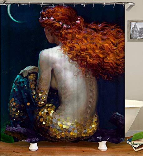 Fuhuaxi Sirena Cortina baño Sirena Pesca Cortina