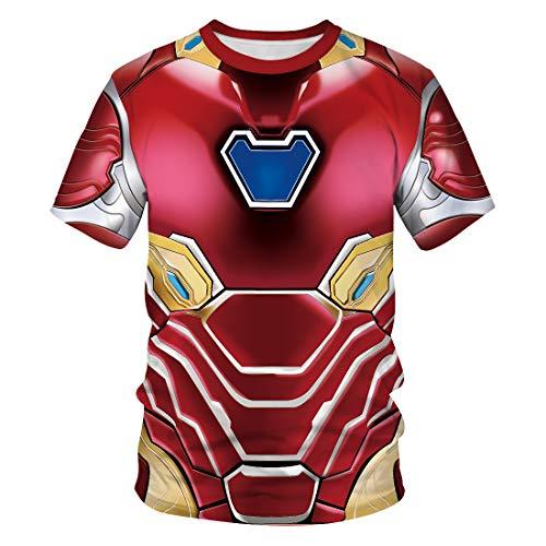 Männer 3D T-Shirt Revenge Alliance Iron Man Phishing Beast Orange Katze Fußball Team Uniform Muster Digitaldruck Liebhaber Shirt(M,Bunt)