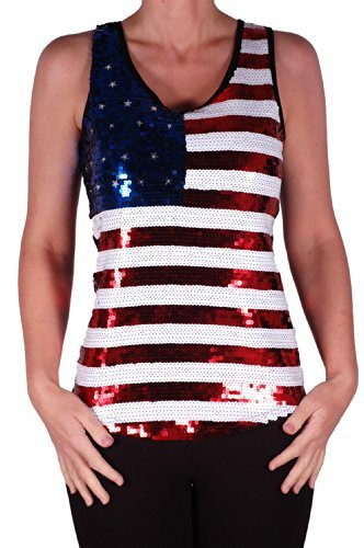 EyeCatch - Stars and Stripes USA Fahne Flagge Pailletten Träger Top, medium