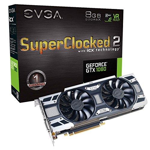 EVGA GeForce GTX 1080 SC2 GAMING, 8GB GDDR5X, iCX Technology - 9 Capteur thermiques& RGB LED G/P/M, Ventilateur asynchrone, Conception de flux d'air optimisé Carte Graphique 08G-P4-6583-KR