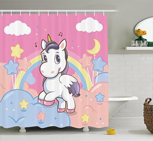 Abakuhaus Duschvorhang, Einhorn mit Regenbogen Sternen Mond Kinderfreundlich Wolken im Himmel...