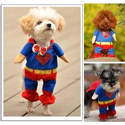 Sanlise New Pet Cat Dog Puppy Cotton Clothes Costumes Superman Suit size XS/S/M/L/XL (L)