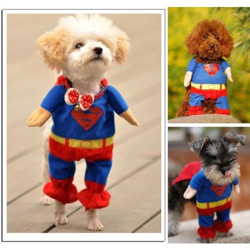 Superdog Hunde Kostüm - Sanlise Hundekostüm / Katzenkostüm, Motiv: Superman / Superdog, aus Baumwolle, Größe XS / S / M / L / XL