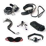 SM Sex Toys 7PCS Regolabile Bondage Restrictions Manette Copricapo Plugs Bocca Cosplay Collare Choker e Mano e Caviglia Reggimento Kit, Nero,blakc