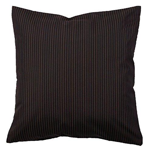 Kissenbezug, 40x40 cm, Nadelstreifen, Baumwolle, Kopfkissen, Streifen, gestreift   Braun auf Schwarz