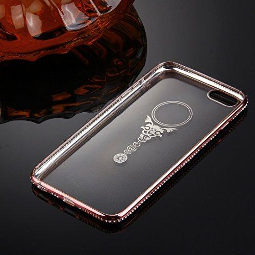 iPhone 6S Plus & 6 Plus Hülle Glitzer-Strass Case Schutzhülle (5,5 Zoll) im stylishen Glamour glitzer Crystal Look mit Strassteinen und Aufdruck für das iPhone 6S-6 Plus - Farbe: Rosé -Rose - Nur orig rose - Amulette