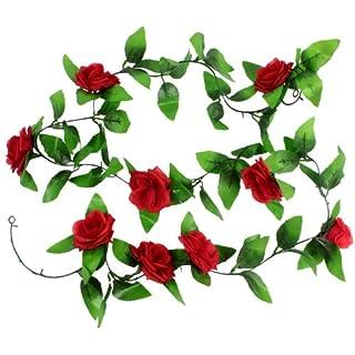 Akord Künstliche hängende Dekoration Vine Seide Rose Blume Blätter, rot, 200x 3,7x 5cm
