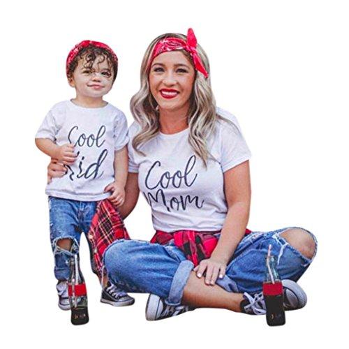 Cinnamou Mode Maman et Bébé Enfants Garçons Filles Manches Courtes Lettre T-Shirt Blouse Famille Vêtements La Robe de T-Shirt de Lettres à Manches Courtes