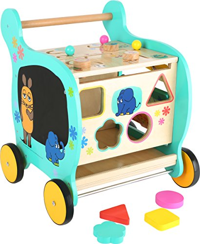 small foot design- Elefante Carrello Primi Passi in Legno Die Maus, 10495