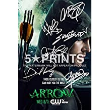 """Arrow Poster Photo Signed PP 12x8"""" 6 Cast Autographs Stephen Amell Grant Gustin Caity Lotz David Ramsey Willa Holland Katie Cassidy Autograph Print Style B"""