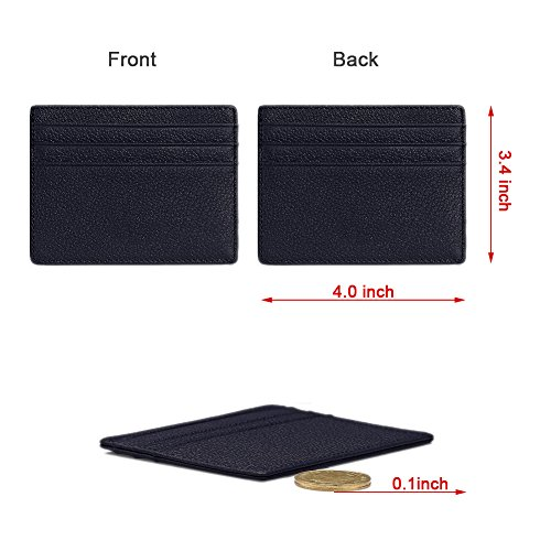 Hibate Genuine Leather Unisex Slim Credit Card Case Holder Sleeve Wallet - Black