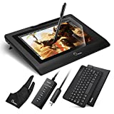 Parblo Coast10 10.1' IPS Graphic Tablet Drawing Monitor Display Painting with Cordless Battery-free Pen,9' Black Bluetooth Keyboard,9' PU Leather Case and 10.1' Screen Protector