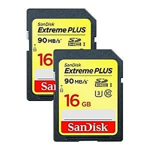 SanDisk Extreme PLUS Scheda di Memoria, SDHC da 16 GB Twinpack fino a 90 MB/Sec, Classe 10, U3