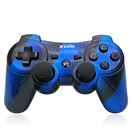 PS3 Controller Wireless Dualshock Joystick – klno Bluetooth Gamepad-Achsen-, Super Power, USB Ladegerät, 6-Achsen, Dualshock3, 1 Kabel Blau Interval Blue