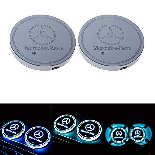 Set di 2 sottobicchieri a led per auto, con logo, impermeabili, sottobicchieri, sottobicchieri, impermeabili, luminosi e luminosi