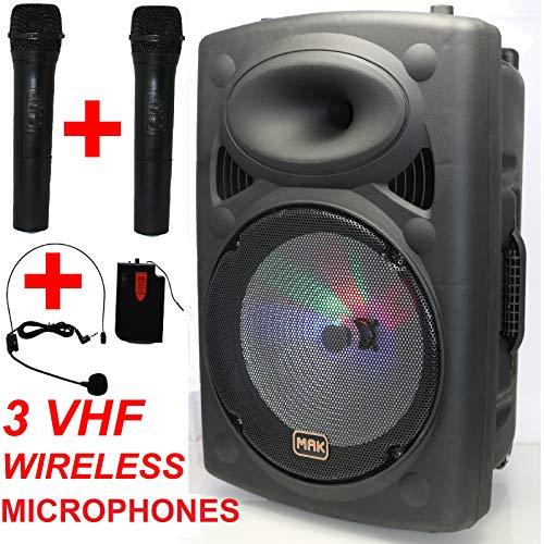 "Mak 12""600 watt Bluetooth Tragbare PA Aktive Lautsprecher System 2 Drahtlose VHF mikrofon Errichtet in Wiederaufladbare Batterie USB FM"