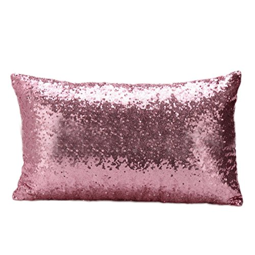 Funda de cojín cuadrada con lentejuelas brillantes, de Cosanter 30 x 50 cm, Rosa, 30*50CM