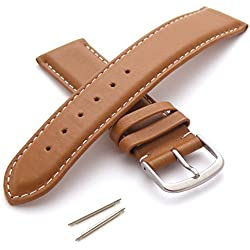 22mm Leather Watch Strap - Medium Padding with Buckle - New Spring Bars Supplied
