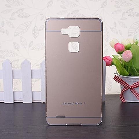 EKINHUI Huawei Mate 7 Coque; Luxe M¨¦tal Aluminium Bumper Coque d¨¦tachables + Hard Back 2 en 1 Ultra Cover chassis mince pour Huawei Mate 7(Gold)