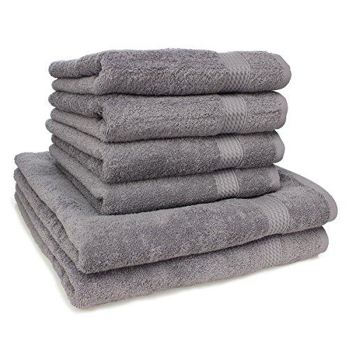 Pourtous Handtuch-Set, ausbleichsicher, 2 Badetücher und 4 Handtücher, Grau 100% Baumwolle 500 - Muster Handtuch-set