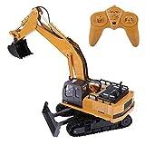 Dilwe Escavatore telecomandato, HUINA 1510 11 canali Escavatore Camion 1/16 RC Elettrico Giocattolo Auto per Bambini