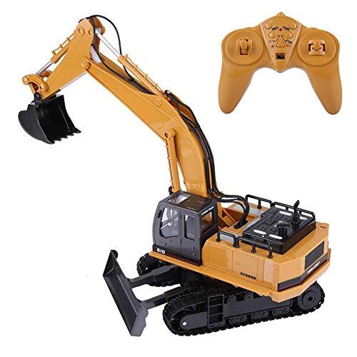 Dilwe Fernbedienung Bagger, HUINA 1510 11 Kanäle RC Bagger LKW 1/16 Elektrische RC Engineering Spielzeugauto für Kinder Kinder