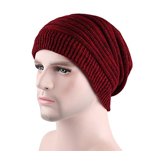 Flechtmuster Kissen (LCLrute Männer Mode Lässig Warme Winter Häkeln Hüte Gestrickte Wolle Säumende Kappe (Rot))