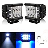 #3: Andride 2PCS 48W Led Cubes Blue Dually Side Shooter Warn Strobe Led Pods Lights Waterproof Off Road Driving Fog Light Bar Bike and Car