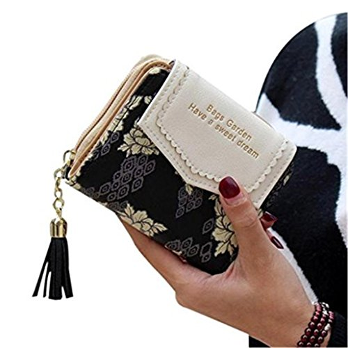Kolylong Damen-Geldbörse, Blumenmotiv, klein, mit Kartenhalter schwarz 11.5*9.5*3.5cm (Patent Shopper)