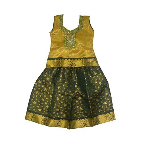 Mysilksaree Girls Pattu Pavadai Yellow & Green(3-4 Years_RANIYG4_22)