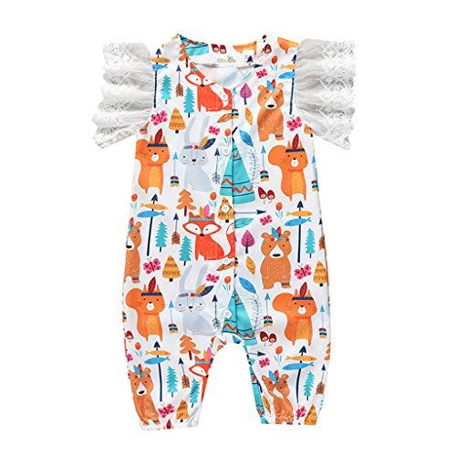 squarex Sommer Neugeborenen Baby Mädchen Jungen Cartoon Overall Spitze Strampler Casual Overall Kurzarm Strampler Kleidung Outfits