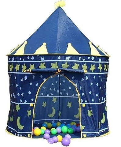 Enfants Tente de Jeu Château Princesse Château Enfants Pop Up Piscine à Balles Jouet pour Bébé Jouer Tente Maison Jardin Jouet 'Intérieur ou à L'Extèrieur Pour Garçons Fille (Bleu)