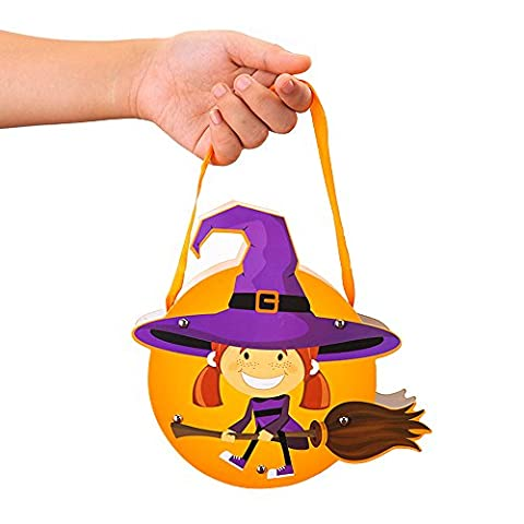 Kids Halloween Candy Bag,BAFFECT® DIY Paper Witch Candy Bag Kids Candy Handbag Children Trick or Treat Bags Children Party Storage Bag for School Halloween (Witch)